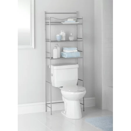 Mainstays 3-Shelf Bathroom over the Toilet Space Saver with Liner, Satin Nickel - Walmart.com