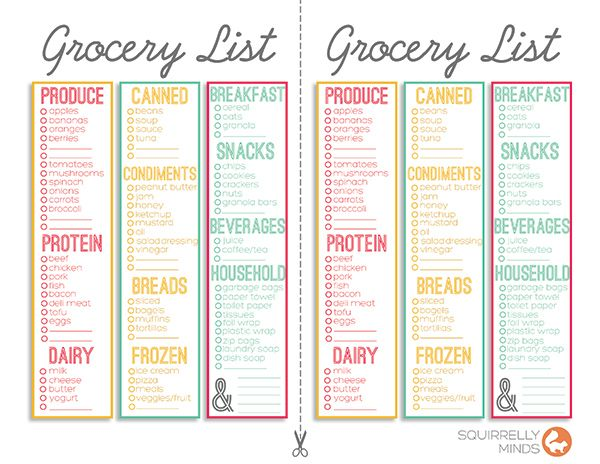 Print. Shopping List TemplatesArc ...  Grocery Checklist Template