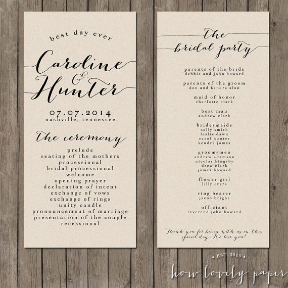 printable wedding program the bailey collection programming