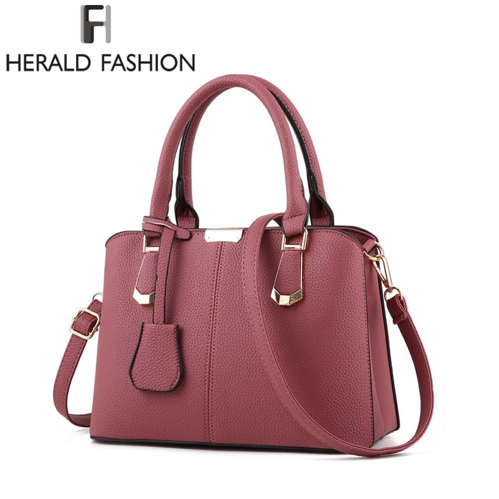 a6dae4c268 Herald Fashion PU Leather Top-handle Women Handbag Solid Ladies Lether Shoulder  Bag Casual Large