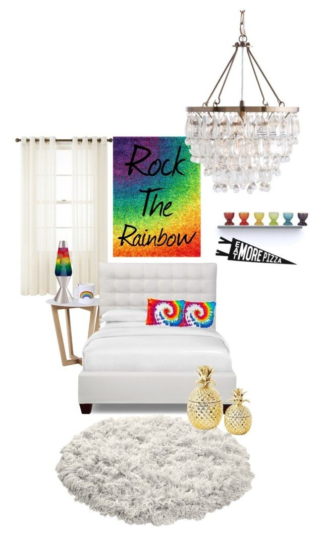 """""""Rainbow Home"""" by justinalove27 ❤ liked on Polyvore featuring interior, interiors, interior design, home, home decor, interior decorating, Loloi Rugs, Royal Velvet, Universal Lighting and Decor and Le Creuset"""