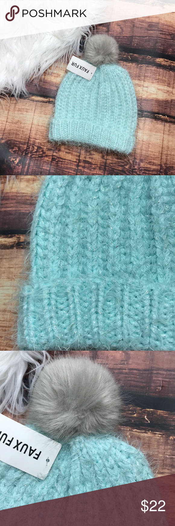3903093fd77 Mint Tiffany Blue Sparkly PomPom Beanie Winter Hat Cute and sparkly with a  furry puff ball