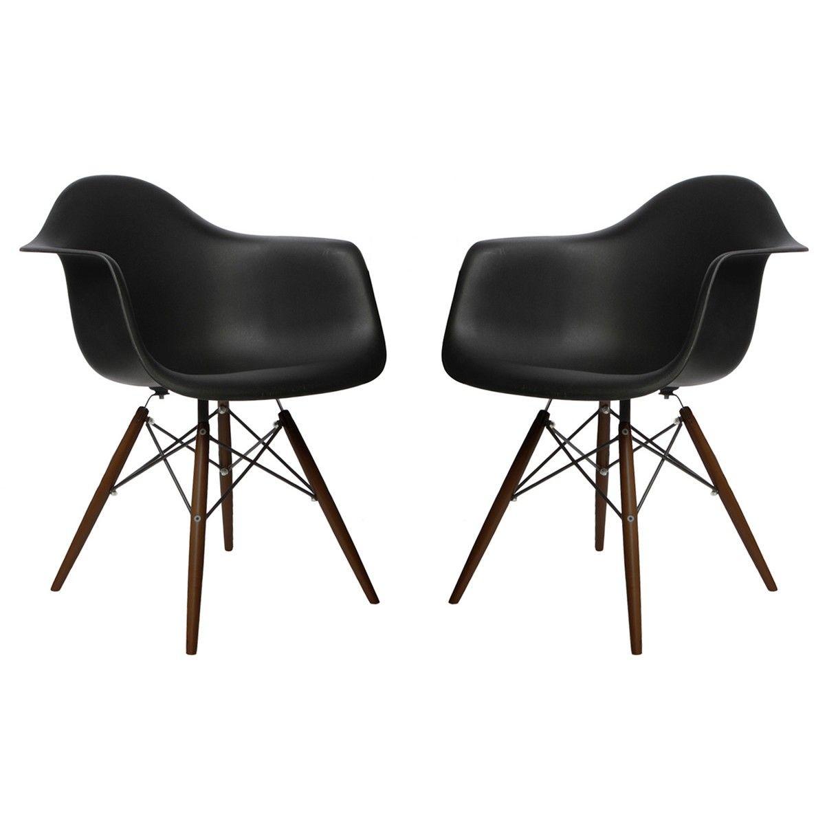 Set Of 2 Eames Style DAW Molded Black Plastic Dining Armchair With Dark  Walnut Wood Eiffel