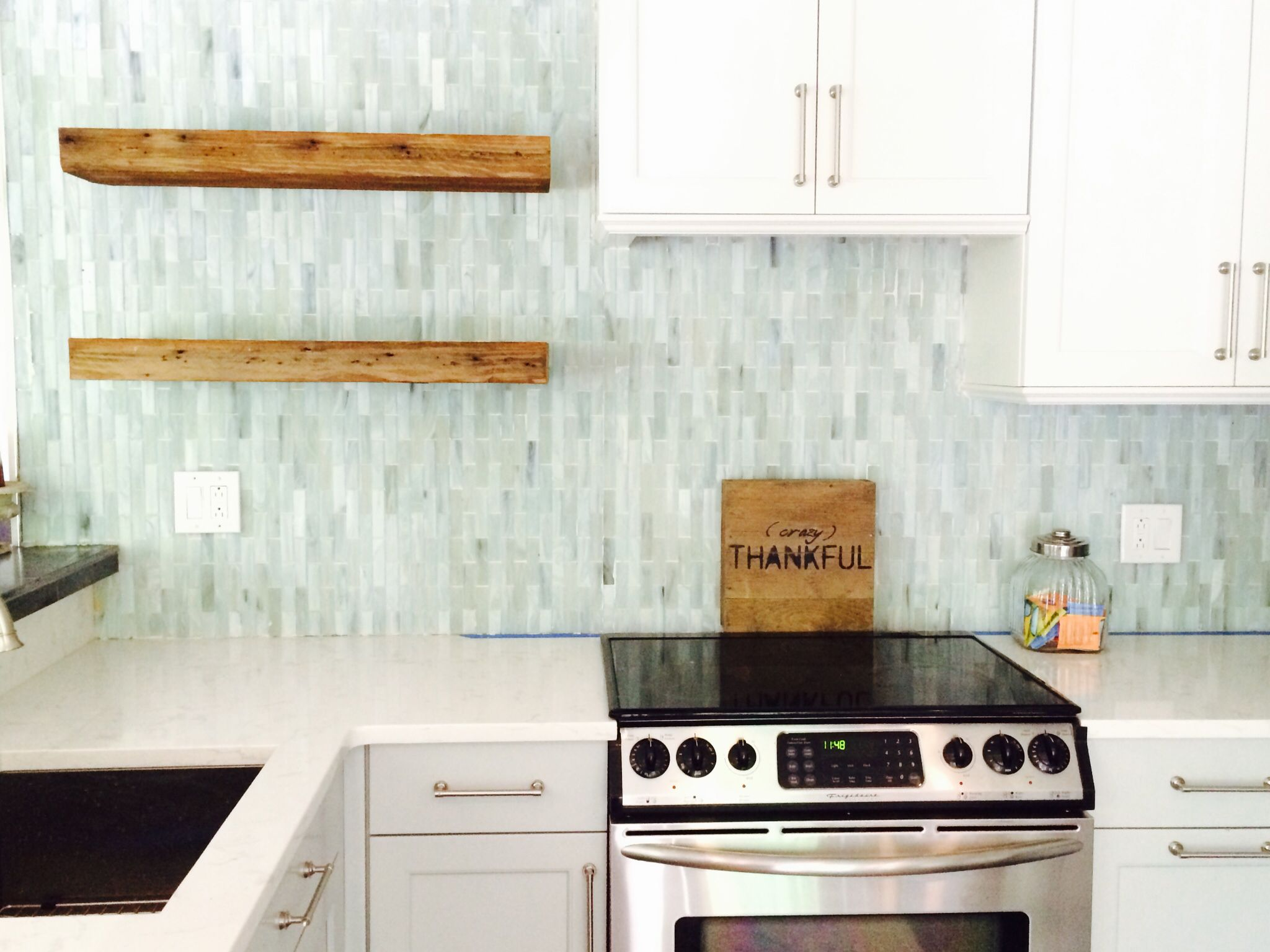 reclaimed wood open shelves in kitchen floating shelves glass