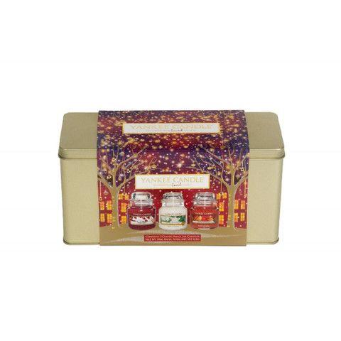 yankee candle christmas 3 small jar tin gift set