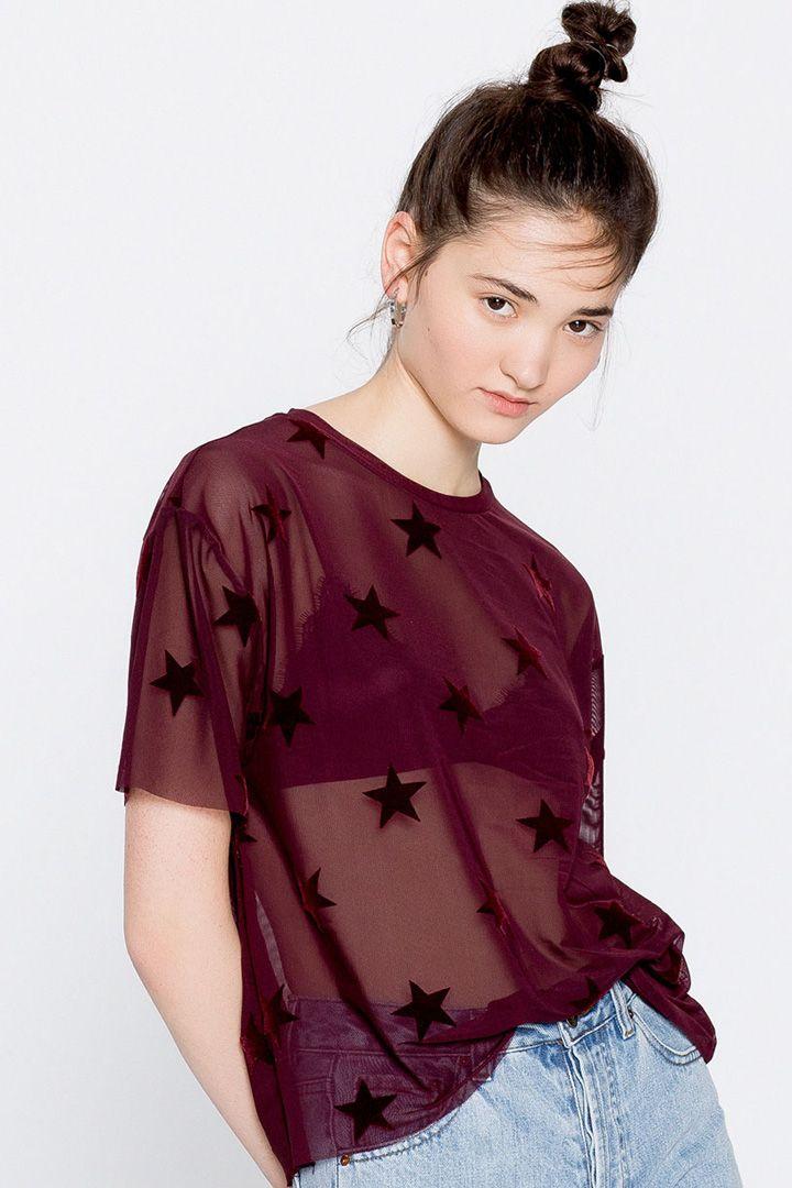 b9c3828e61 Pull Bear - mujer - trends - - camiseta tul estrellas - vino -. Camisetas