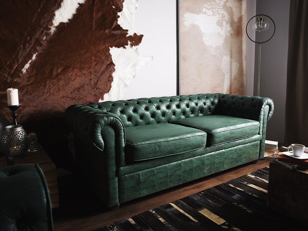 3 Seater Sofa Faux Leather Green Chesterfield Sofa Faux Leather