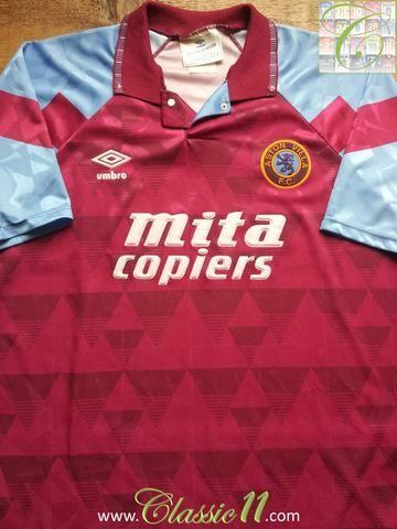 Relive Aston Villa S 1990 1991 Season With This Original Umbro Home Football Shirt Football Shirts Classic Football Shirts Aston Villa