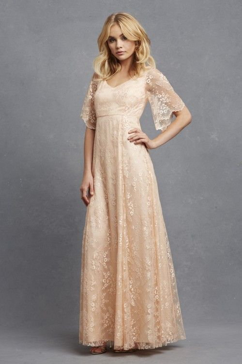 Donna Morgan Madeline Dress In Apricot Long Lace Bridesmaid With Sleeves