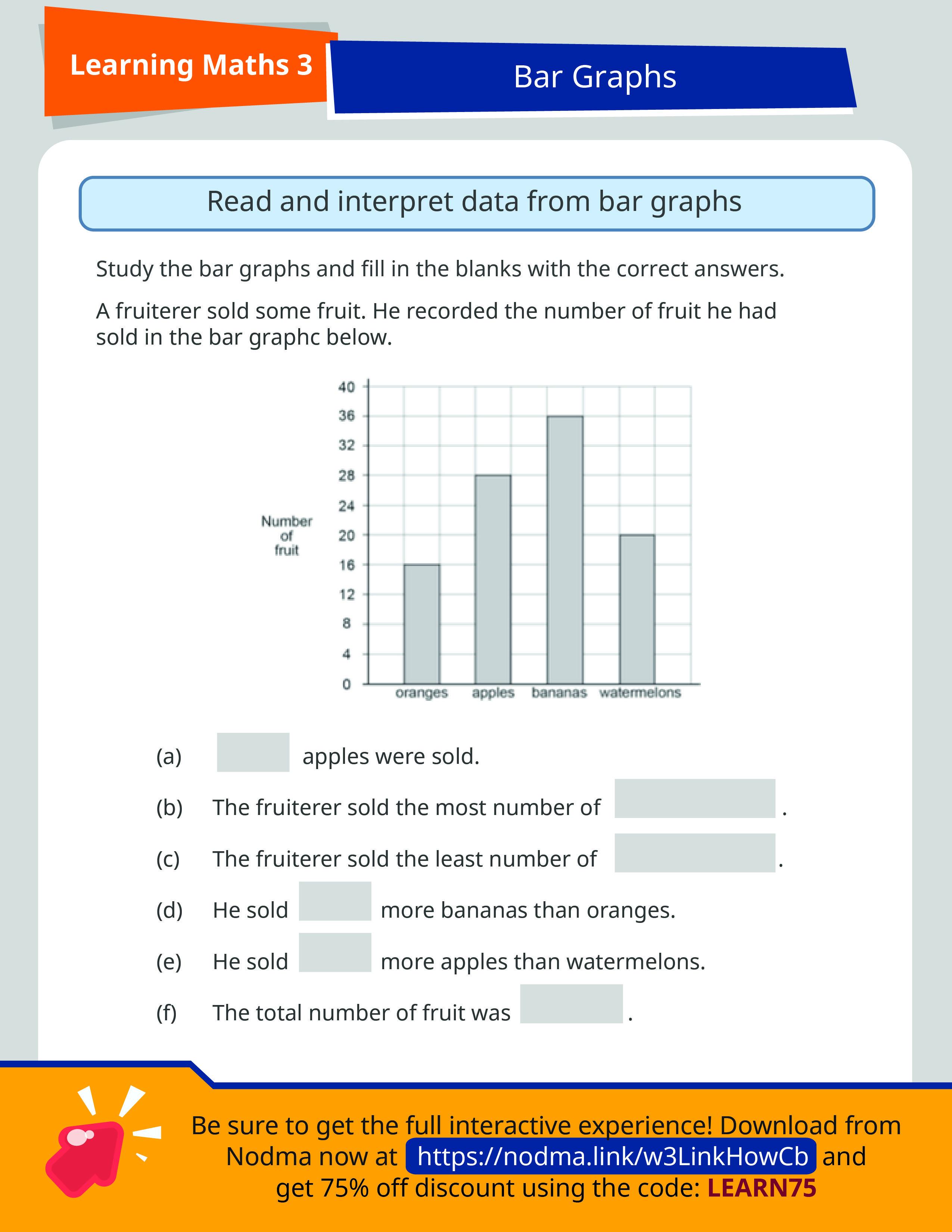 Grade 3 Math Bar Graphs   SAP Learning Math 3   3rd grade math worksheets [ 3300 x 2550 Pixel ]