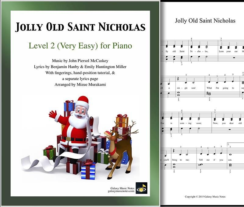 Jolly Old Saint Nicholas Level 2 Piano Sheet Music Christmas