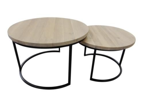 Ronde eiken salontafel set van mooie zware ronde handig