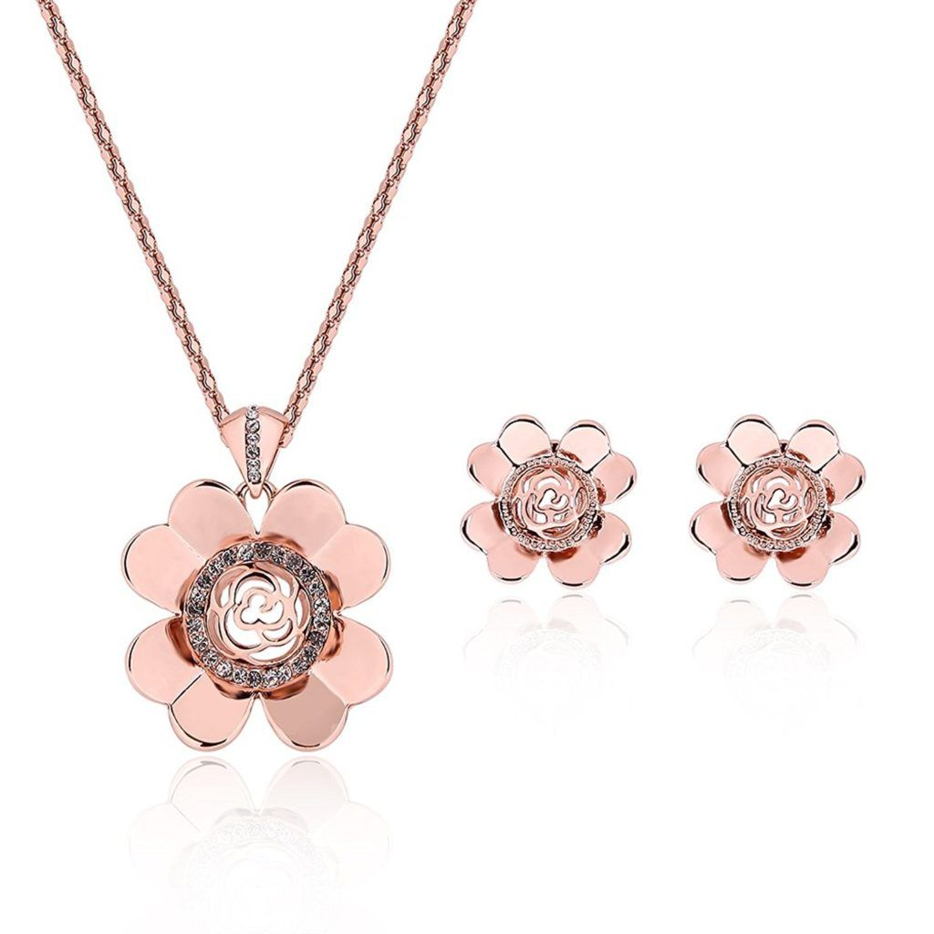 Pokich Rose Gold Plated Pink Flower Necklace Earrings Fashion