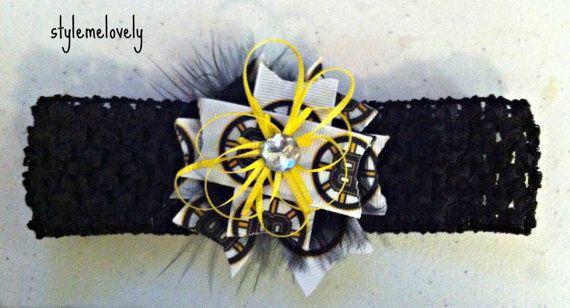 68b1754df Boston Bruins Baby Girl Bow Crocheted Headband by StyleMeLovely00 ...