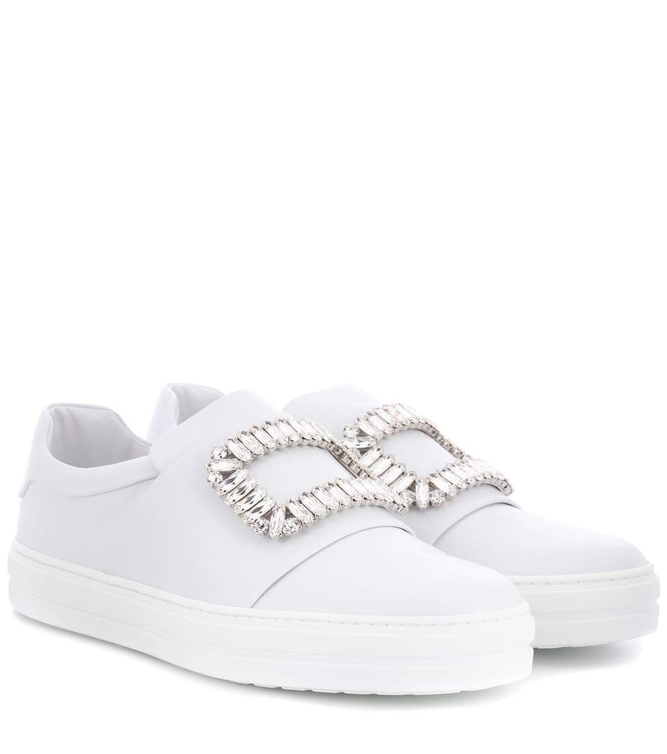 Roger Vivier Sneaky Viv Crystal Embellished Leather Slip On Sneakers In White Modesens Leather Slip On Shoes Slip On Sneakers Sneakers