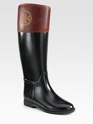 6952ebcb2ba6 The perfect marriage between wellies and riding boots! Tory Burch - Diana  Leather-Trimmed Rain Boots - Saks.com