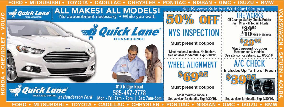 Henderson Ford Coupon Nys Inspection Auto Coupons Rochester Ny