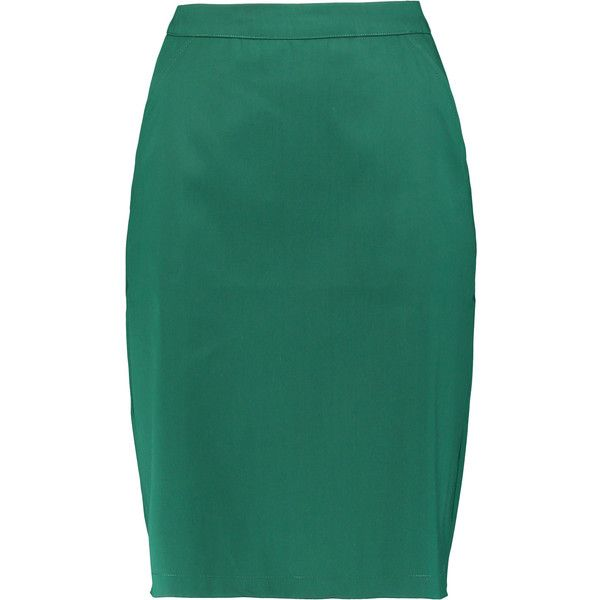 4d526f927b Etre Cecile Cotton-satin skirt ($110) ❤ liked on Polyvore featuring skirts,  emerald, cotton skirts, floral cotton skirt, floral skirt, knee high skirts  and ...