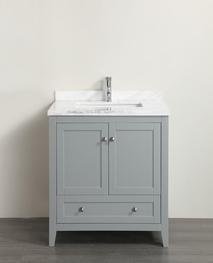 Classic 30 Inch Grey Bathroom Vanity With White Carrera Marble Top