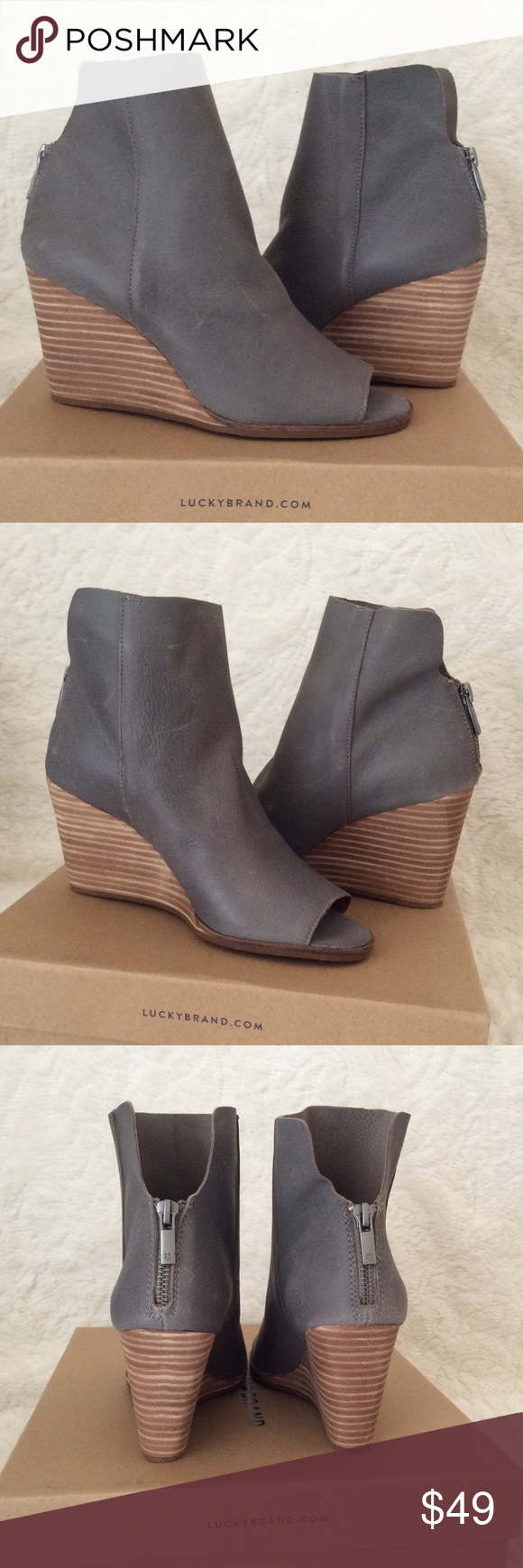 2d99ca3a308 💙LUCKY BRAND URBI OPEN TOE BOOTIES💙 Steel grey booties perfect for fall  🍁 Great