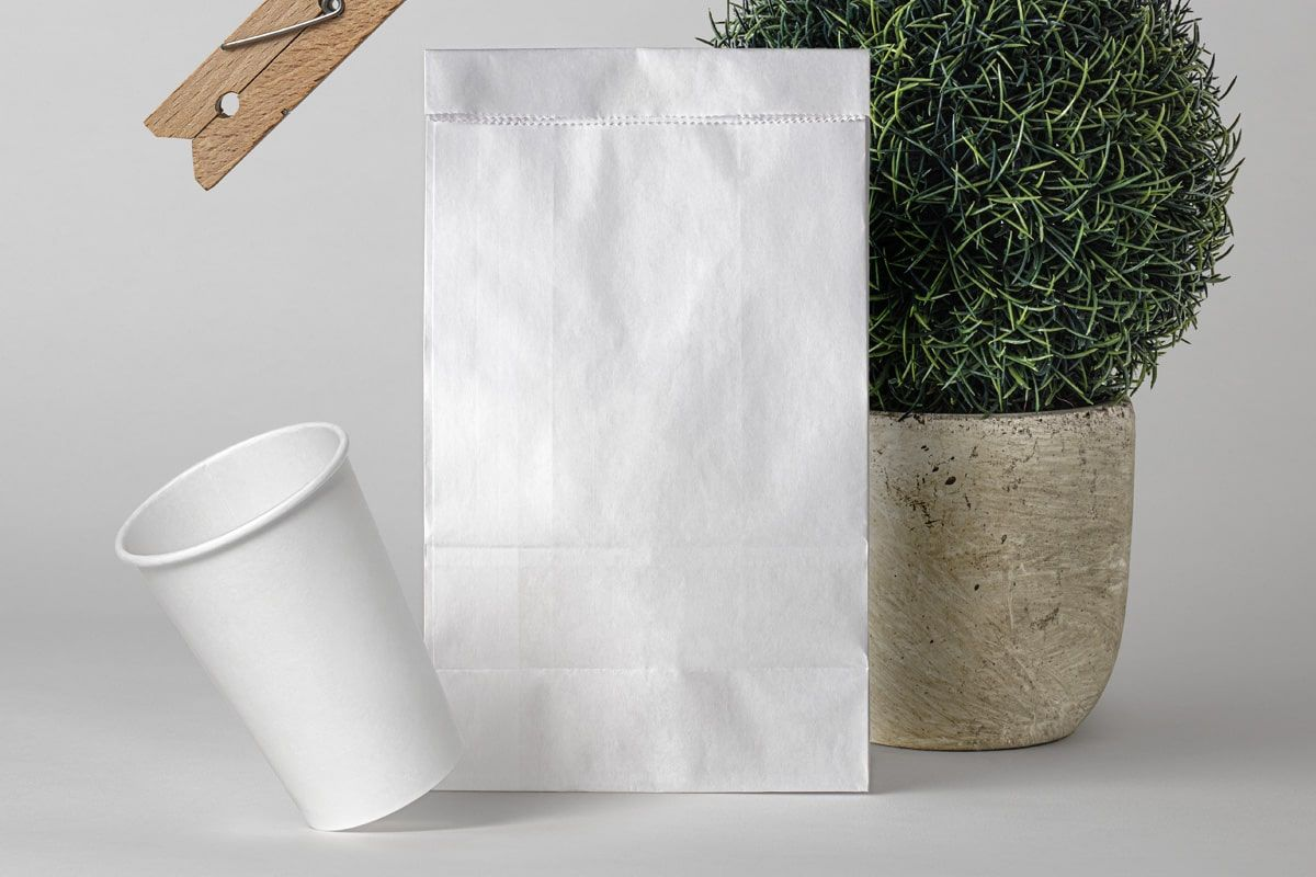 Download Free Paper Bag With Paper Coffee Cup Mockup Showcase Package Mockups Bag Mockup Free Packaging Mockup Free Paper