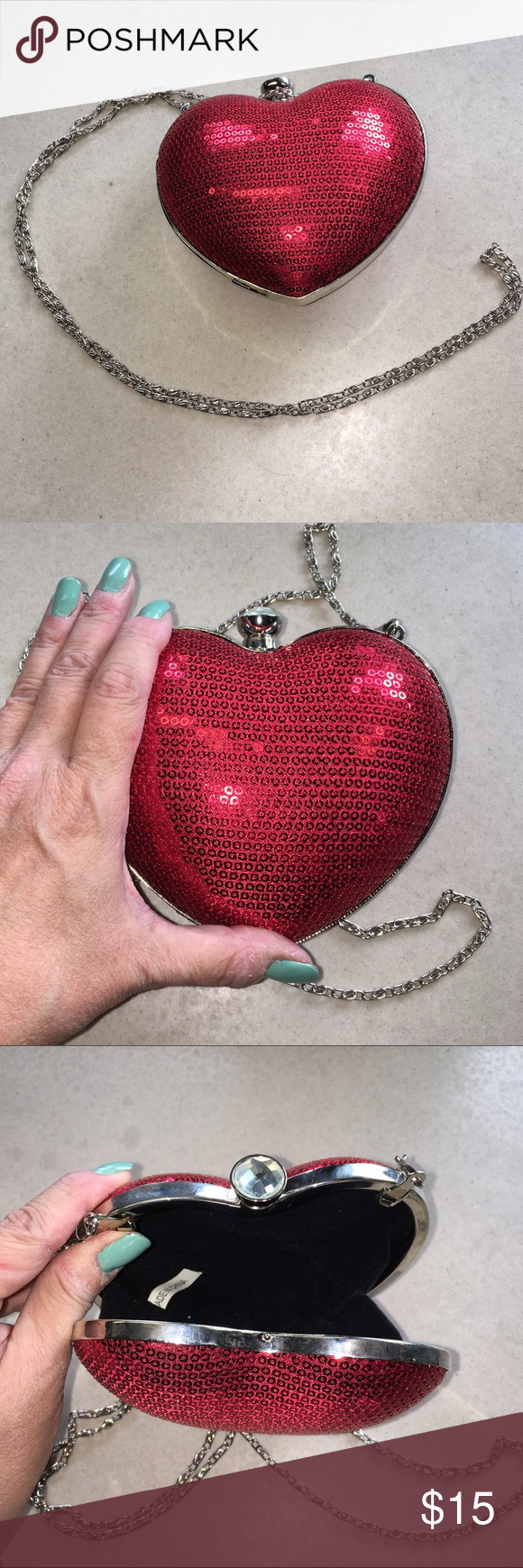 """NEW Heart purse Gorgeous heart shaped clutch purse. Covered in red sequins with faux diamond knob closure at top. 20"""" long silver chain can be tucked inside purse to carry as hand clutch. BRAND NEW NEVER USED, purchased for a party then never wore it. Black fabric interior. 5-1/2"""" across X 4-1/2"""" high. Silvertone accents. boutique Bags Clutches & Wristlets"""
