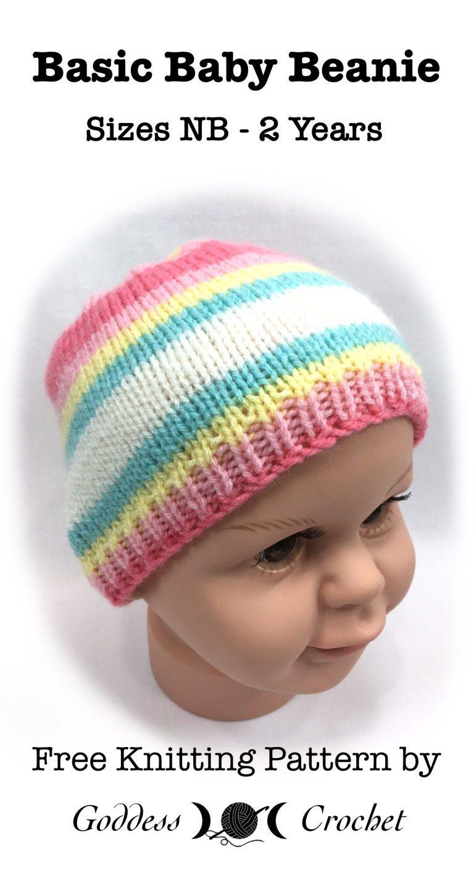 Basic Baby Beanie - Free Knitting Pattern | Baby hats ...