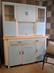 Beau Beautiful Vintage Retro Large 1950s Kitchen Cabinet Cupboard  Newly  Repainted