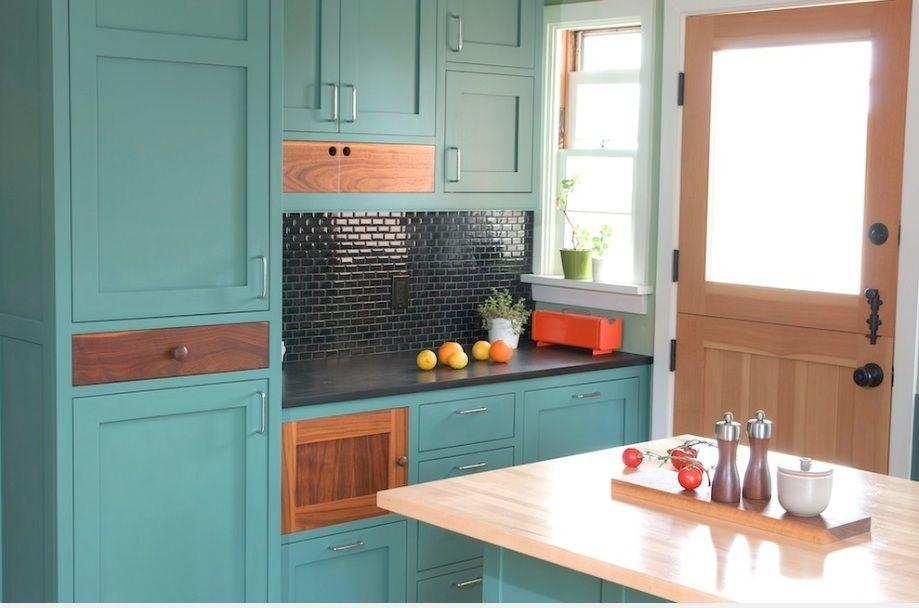 kitchen green kitchen island laminated wooden countertop grey