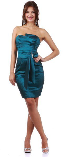 Tight Fit Teal Cocktail Dress Short Strapless Asymmetrical Bodice $89.99