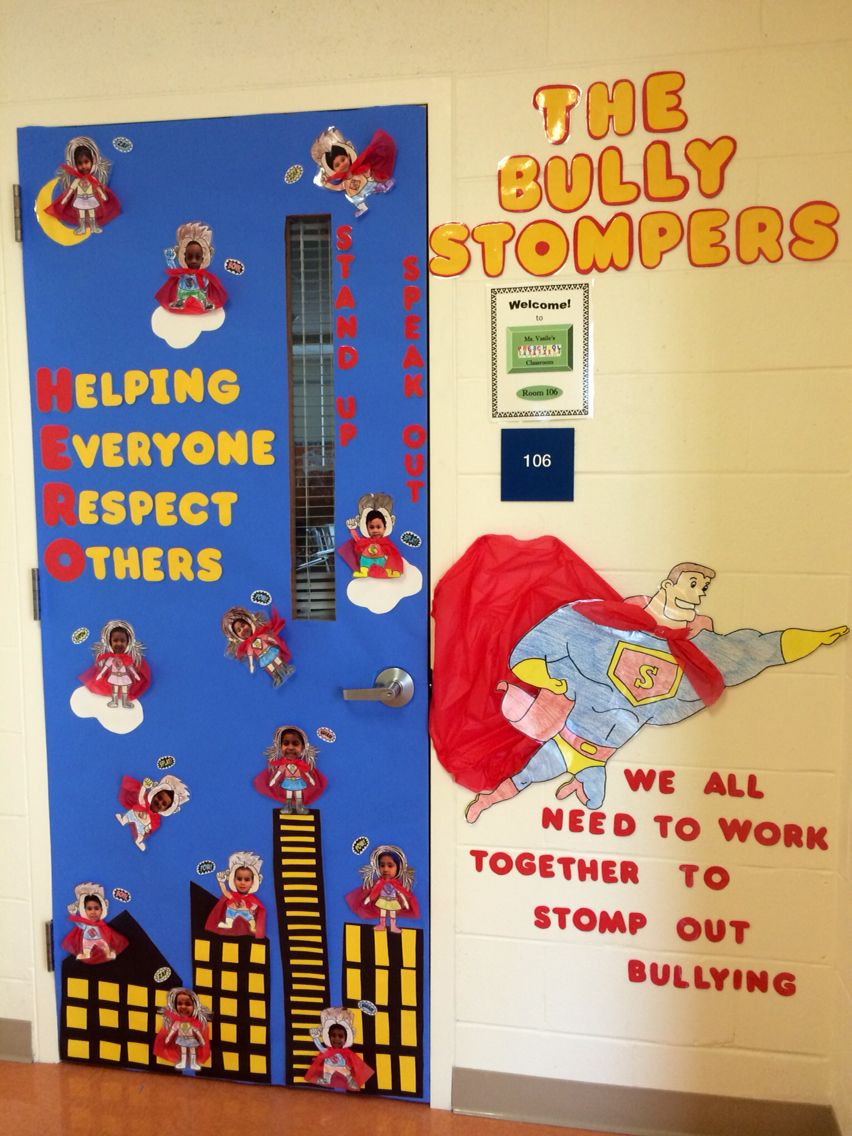 Superhero anti bullying door decoration | School Stuff ...