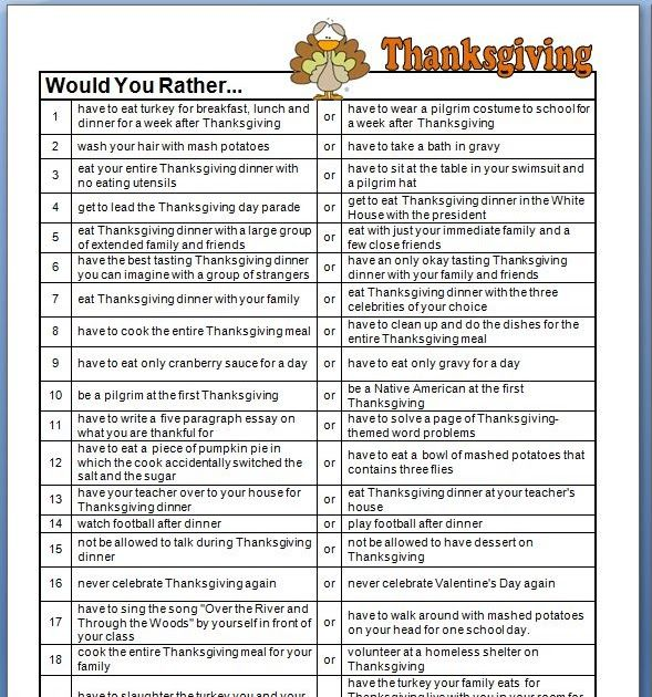 Thanksgiving Would You Rather Questions - Classroom Freebies