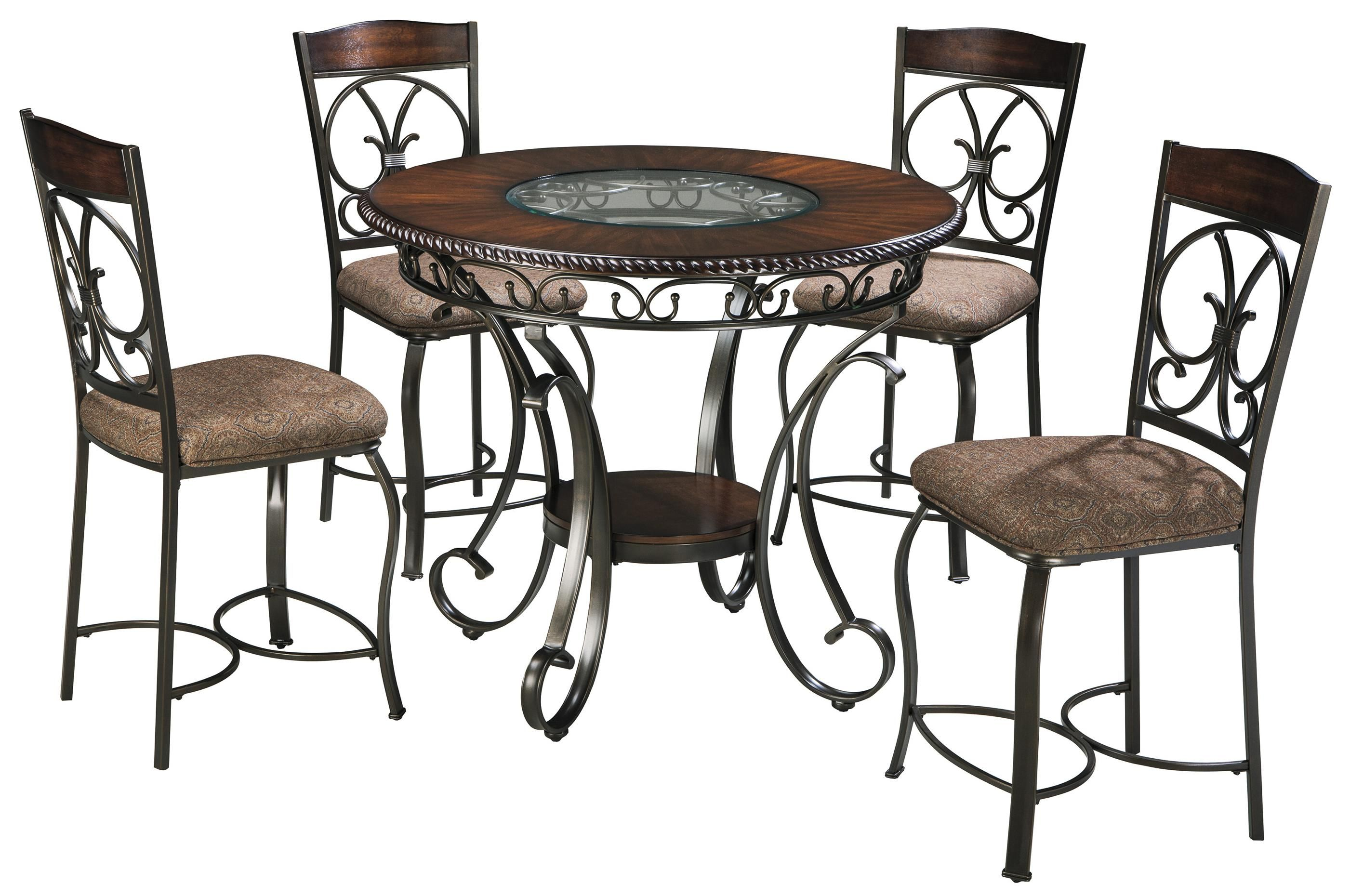 Glambrey Round Counter Table And 4 Barstool Set With Metal