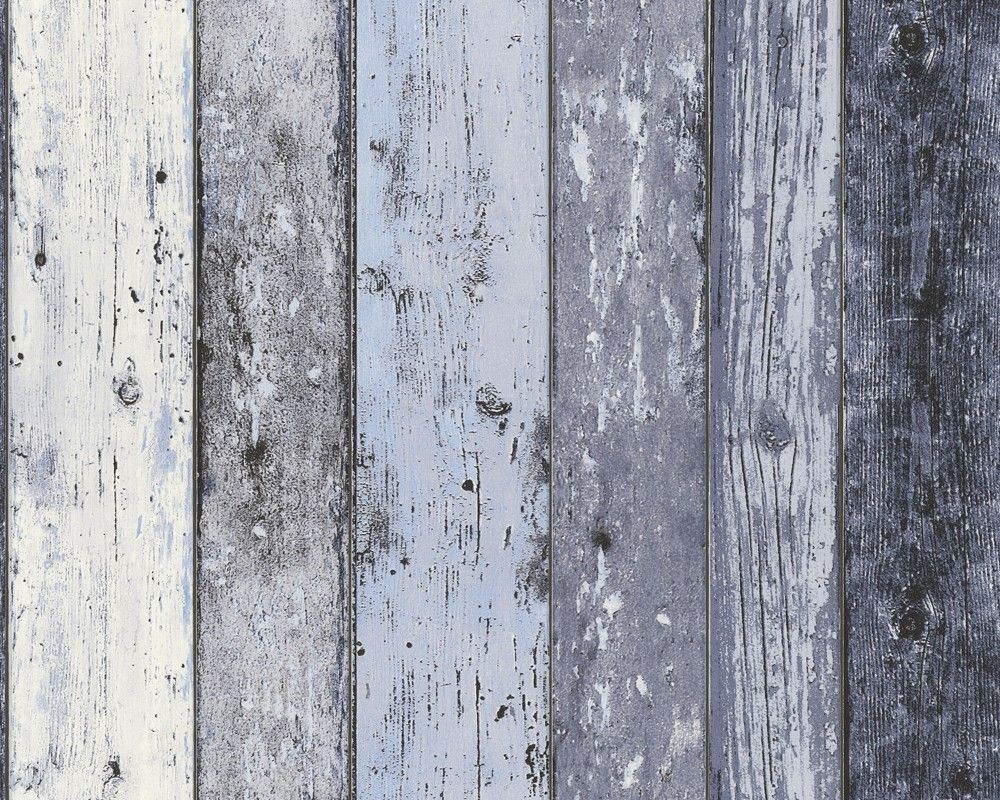 Nonwoven Wallpaper Scrap Wood Blue Grey How To Distress Wood