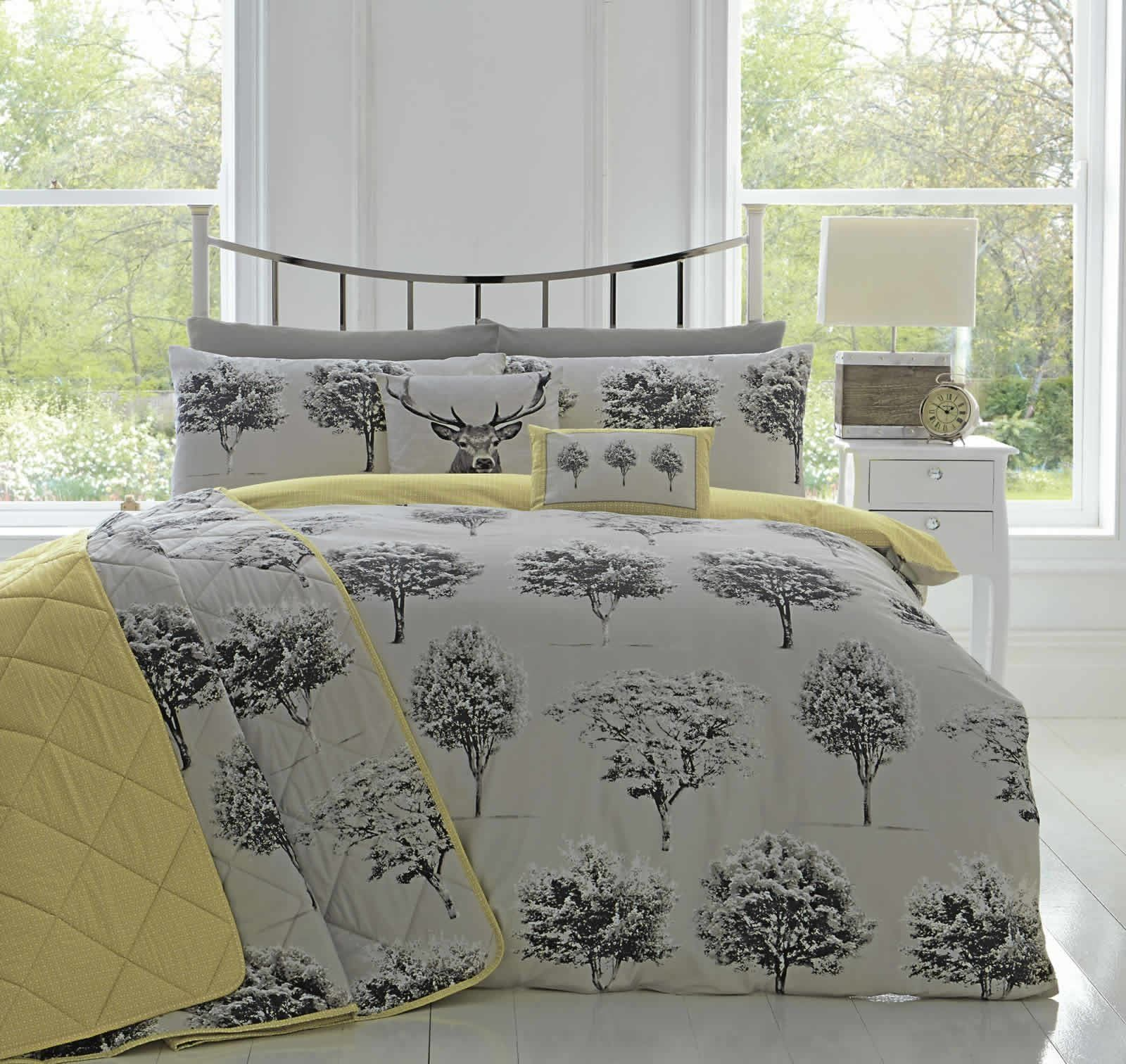 Appletree Yellow Grey Woodland Trees Duvet Cover Reversible Easy