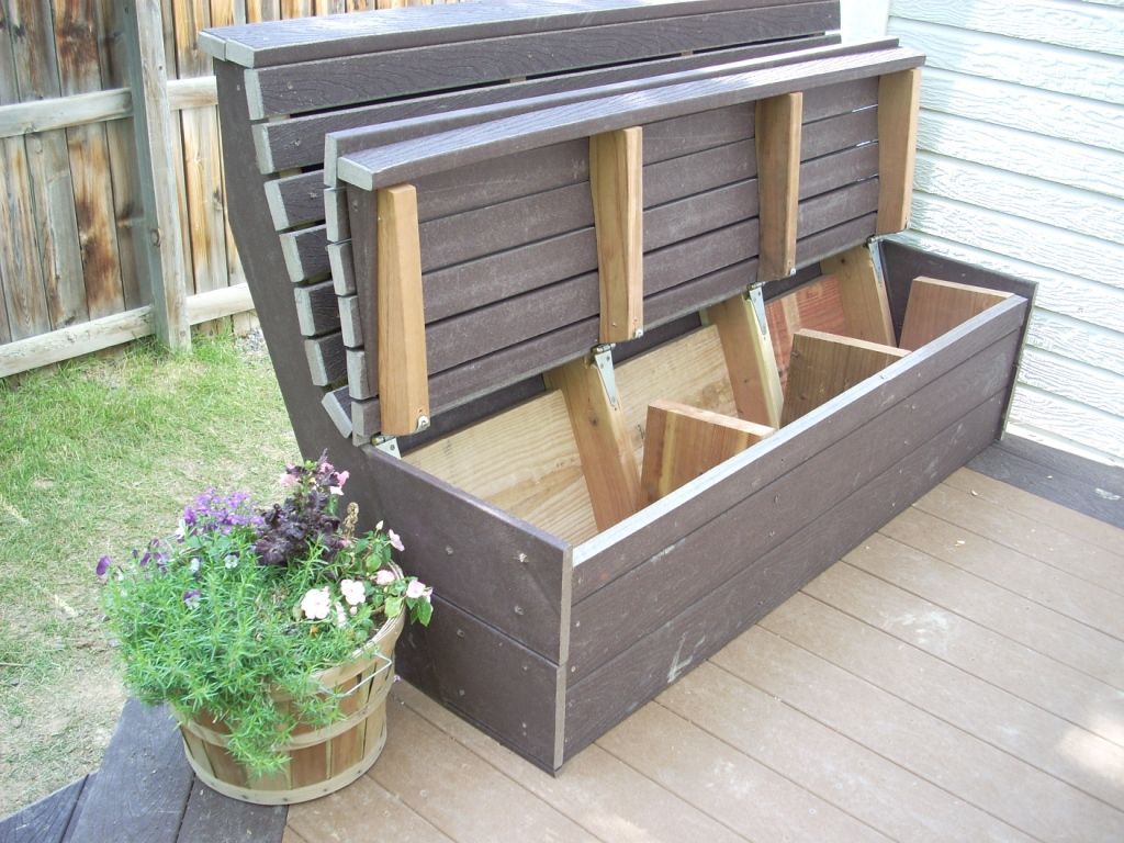 Great Outdoor Storage Seating Idea For The Hubby To Make
