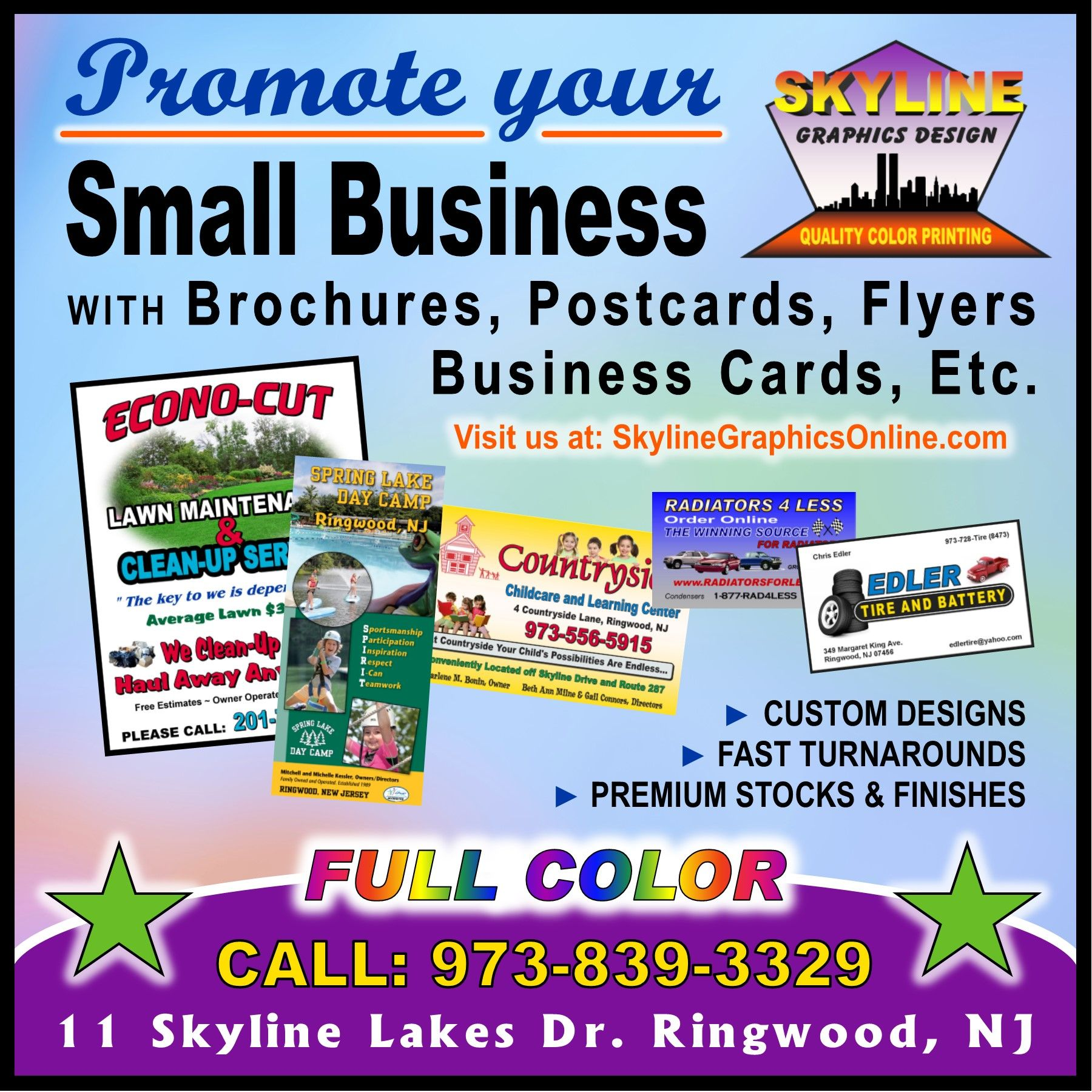 Promoting Small Businesses Brochures Postcards Flyers Business Cards Printing Services Promote Small Business Small Designs
