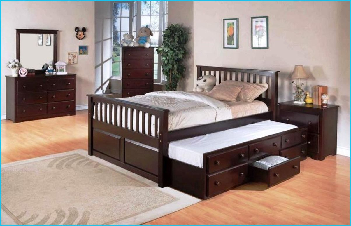 queen bed with trundle underneath