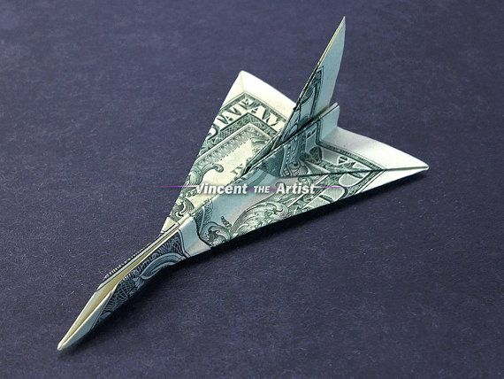 f16 falcon jet fighter money origami dollar bill art