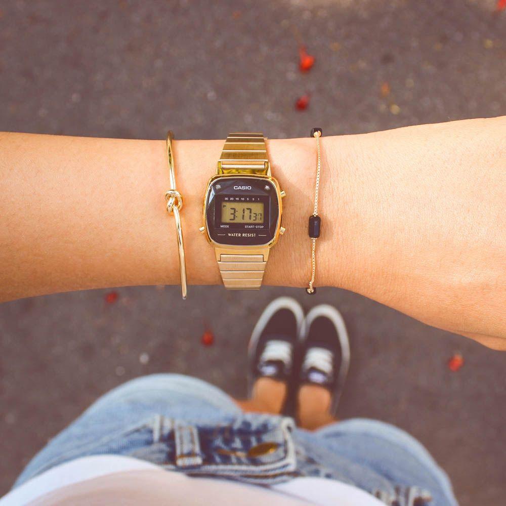 Relógio Casio Vintage Mini Diamond Dourado • LA670WGAD-1DF • Laços de Filó