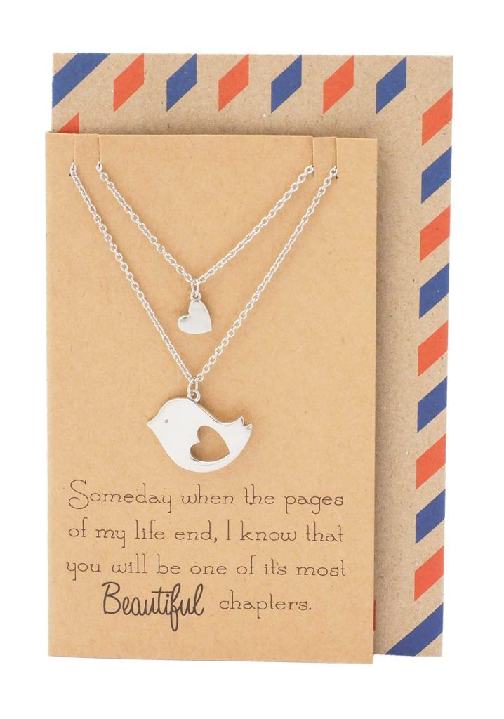 Sabrina Mother and Daughter Bird's Heart Necklace Set for 2 – Quan Jewelry