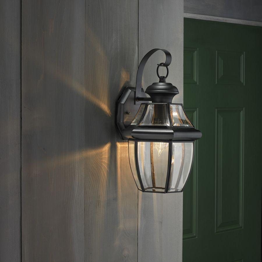 Black Outdoor Wall Light $50 shop portfolio brayden 14.13-in h mystic black outdoor wall