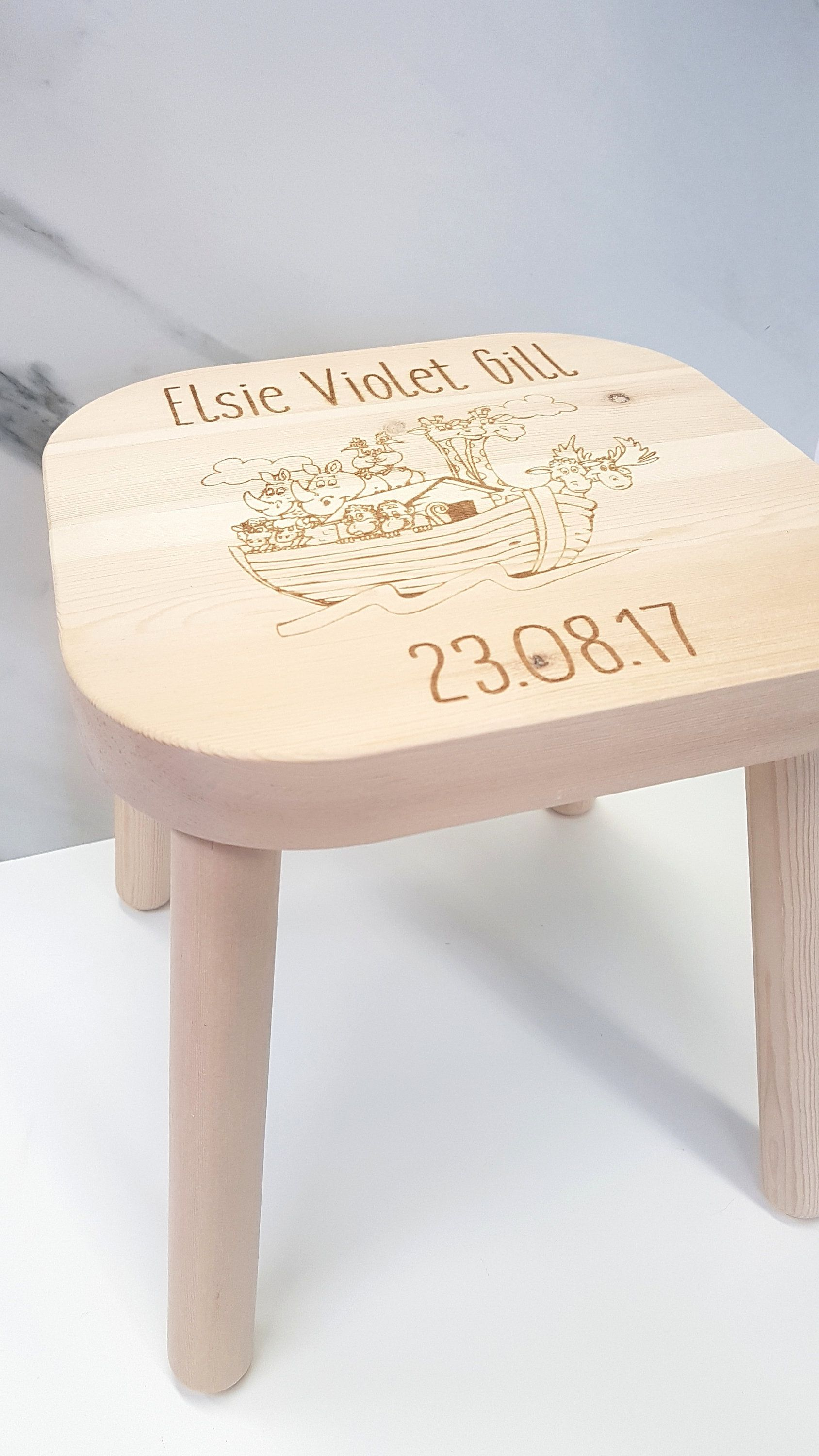 Marvelous Personalised Engraved Wooden Childrens Stool Ts Kids Machost Co Dining Chair Design Ideas Machostcouk