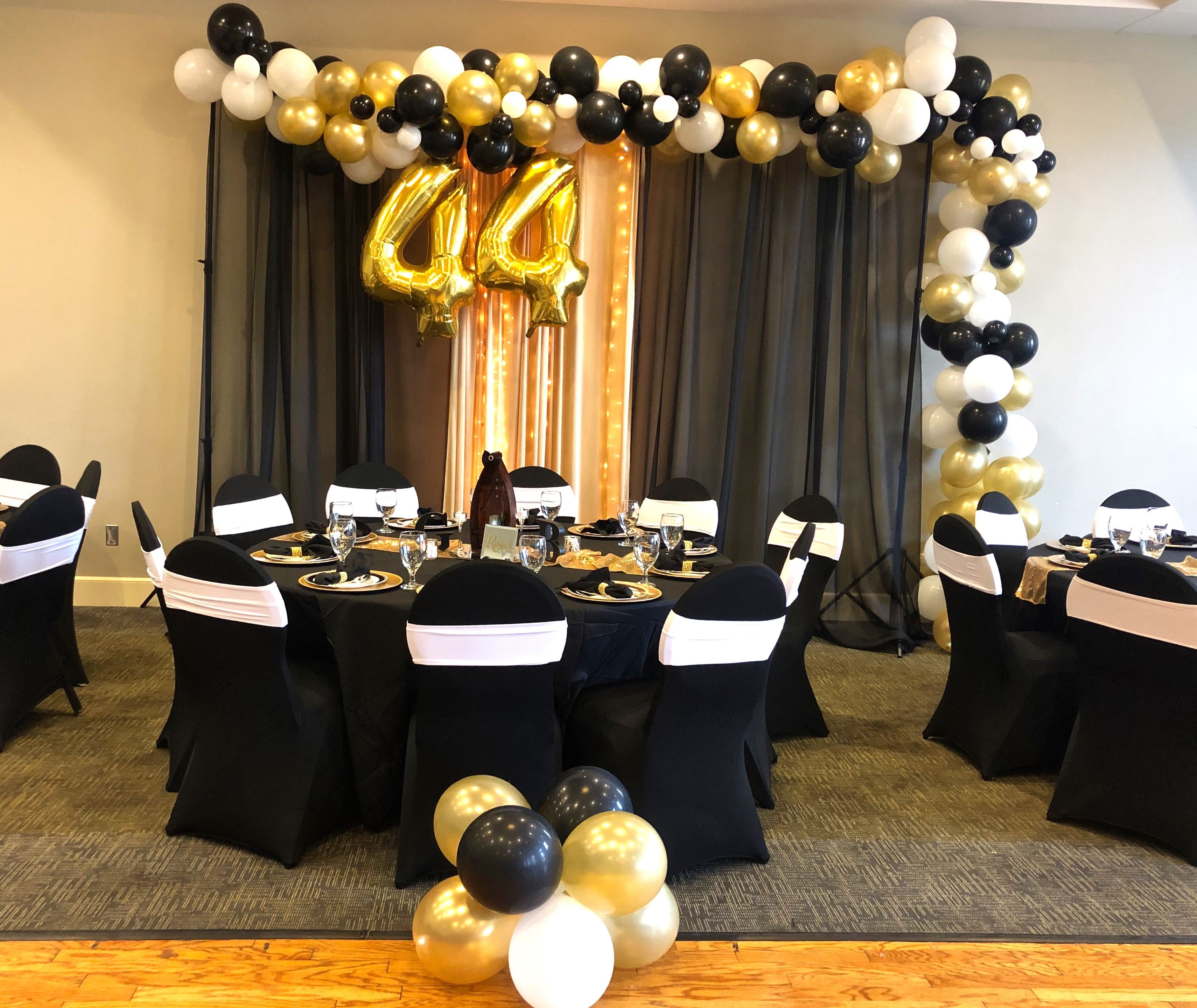 Black White And Gold Retirement Party White Party Decorations