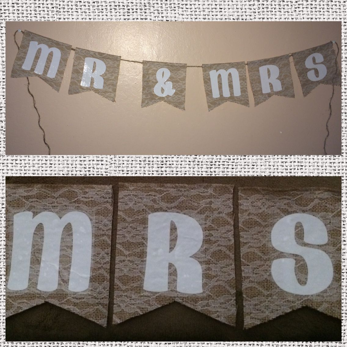 lace burlap mr mrs banner with white vinyl letters lace burlap vinyl
