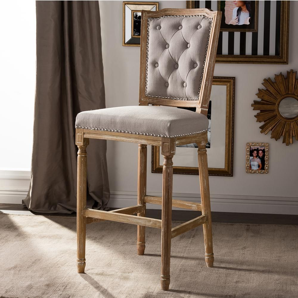 Upholstered Bar Chairs Baxton Studio Estelle Beige Fabric Upholstered Bar Stool