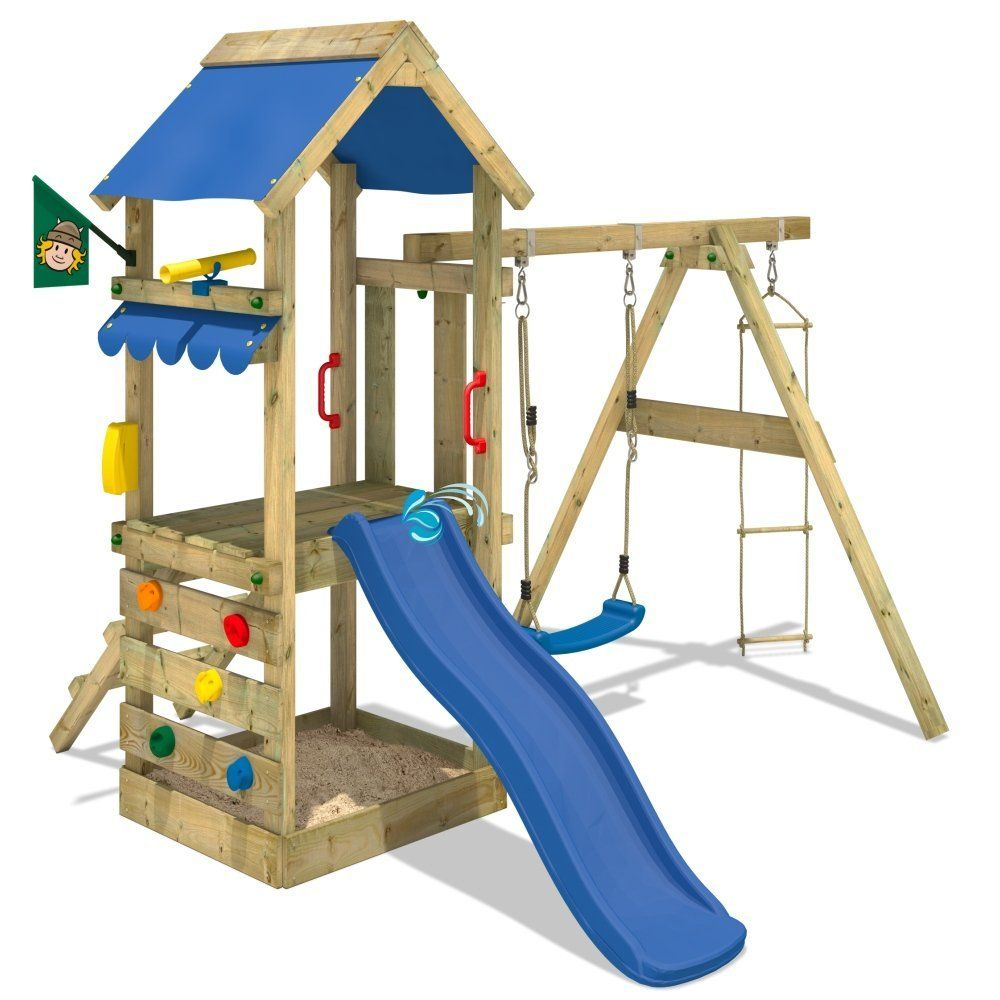 Wickey Spielhaus Freshflyer Spielturm Kletterturm Schaukel Rutsche Sandkasten Amazon De Spielzeug Tf Sport Motorik Wooden Climbing Frame Swing Sl