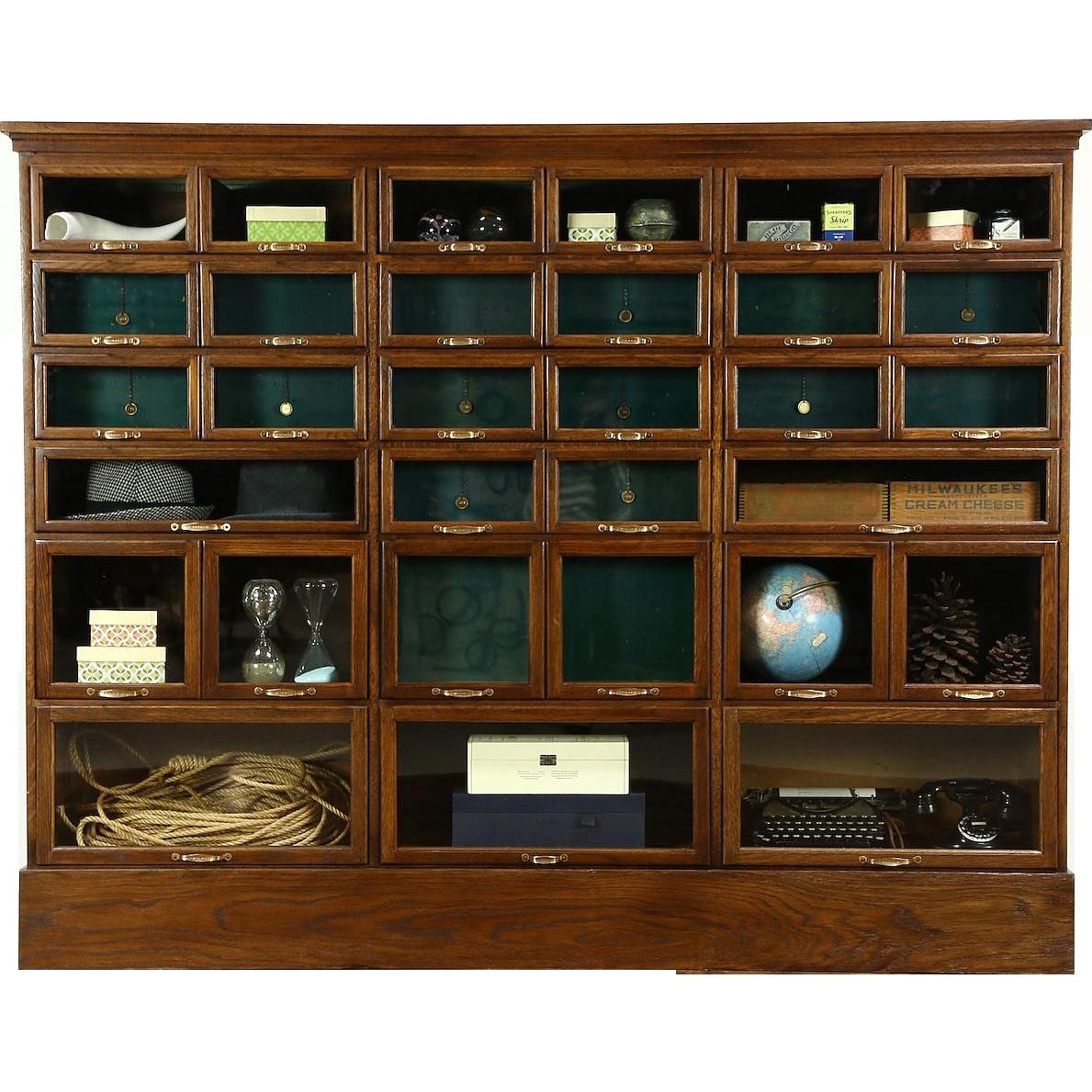 Warren Signed Oak Antique 1900 Store Display Cabinet, 32 Glass Front Drawers - Warren Signed Oak Antique 1900 Store Display Cabinet, 32 Glass