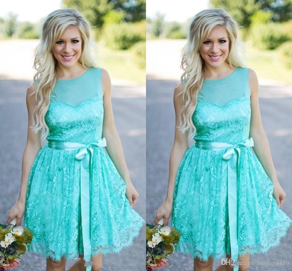 2017 new country turquoise mint short bridesmaid dresses wedding 2017 new country turquoise mint short bridesmaid dresses wedding guest wear jewel neck full lace sashes ombrellifo Gallery