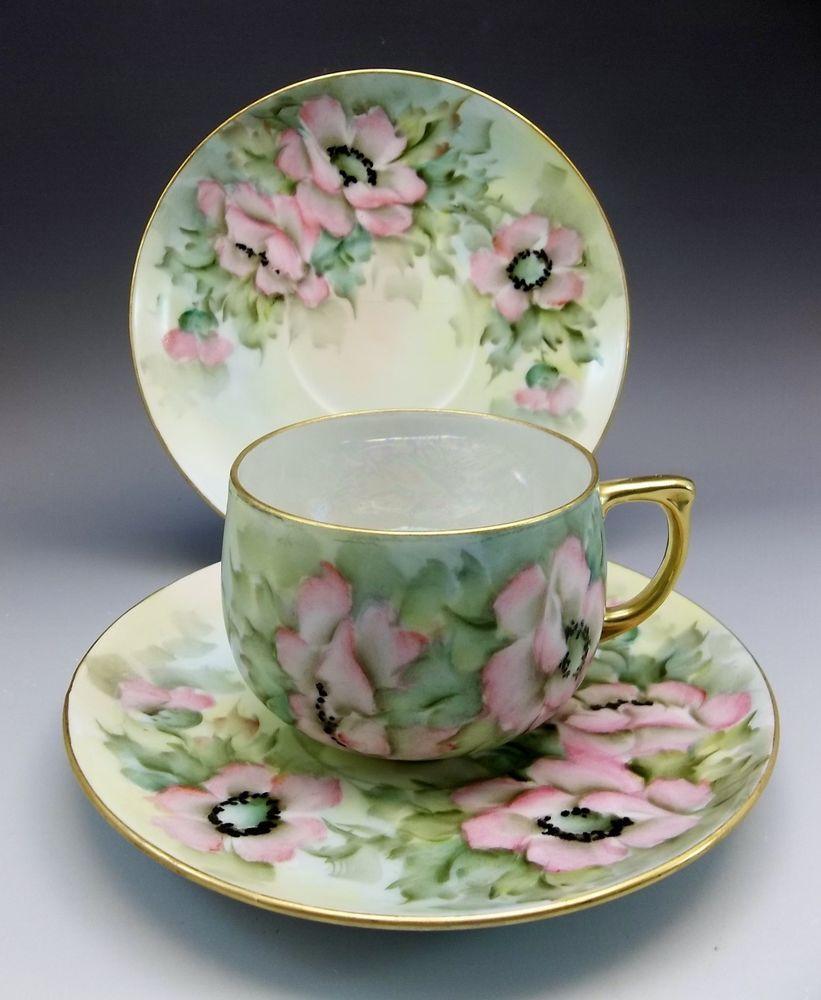Hand Painted Mz Altrohlau Czech Tea Cup Saucer Pink Poppy Flowers